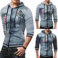 Printed Mens Hoodie Warm Zip Hoody Hooded Sweatshirt Coat Jacket Outwear Sweater