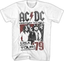 ACDC Malcolm Angus Young Classic Rock Band Guitarist CONCERT White Adult T-Shirt