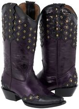 Womens Purple Leather Stitched Studded Cowboy Western Cowgirl Boots Ranch