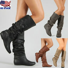 Womens Low Flat Heel Mid-Calf Knee High Slouch Riding Boot Boots Shoes Size USA