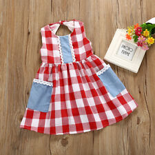12M-5Y Toddler Kids Girls Sundress Sleeveless Cotton Plaid Party Casual Dress