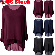 Plus Size Womens Summer Crew Neck Long Sleeve T Shirt Loose Pullover Tops Blouse