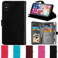 Luxury Magnetic 9 Card Slot PU Leather Flip Wallet Case Cover for iPhone Samsung