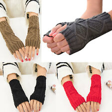 Cashmere Wool Fingerless Gloves Half Finger Arm Warmer  Stretchy Wrist Long