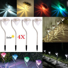 Led Color Changing Solar Diamond Stake Lights Fence Garden Patio Yard Lawn Lamp