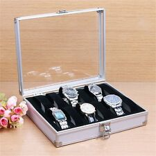 12 Grid Slots Jewelry Watches Display Storage Box Case Aluminium Square AL