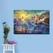 Wall Art On Canvas Mermaid Princess Oil Painting Unframed Room Decor Cartoon  W