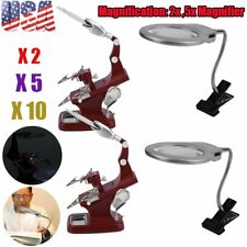 LOT Helping Hand Soldering Stand W/ LED Light Magnifier Glass Clip 2X 5X 30X BET