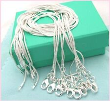 Free shipping wholesale 5PCS sterling solid silver 1MM snake chain XZ
