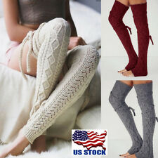 Women Cable Knit Extra Long Boot Socks Over Knee Thigh Student Girls Stocking US