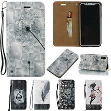 3D Pattern Wallet Flip Leather Case Cover For iPhone 8 X 7 6 Plus Samsung Galaxy