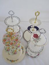 3 Tier Vintage CAKE STANDS English Fine China High Tea Cup Cakes Wedding lot DS