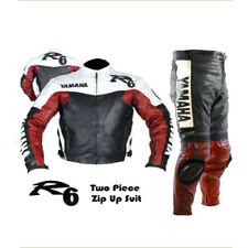 NEW YAMAHA R6 RED MOTORBIKE MOTORCYCLE COWHIDE LEATHER 2 PIECE ARMOURED SUIT