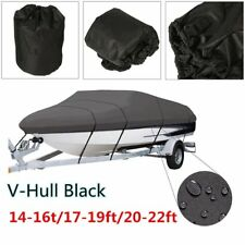 BOAT COVER 14' 17' 24' FT V-HULL for BASS RUNABOUT BOAT GRAY STORAGE COVERS M11