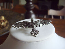 Alchemy Gothic Black Consort Winged Handspan Raven Pewter Ring R205