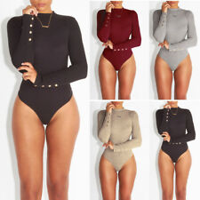 Womens Bodycon Jumpsuits Blouse Long Sleeve Stretch Romper Bodysuit Leotard Top