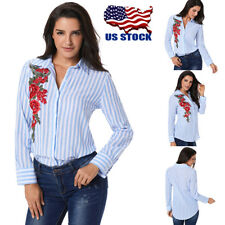 Womens Floral Stripe T-Shirt Long Sleeve Blouse Casual Autumn Slim Tops Pullover
