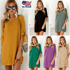 US Womens Lace Up Bow Sleeve Tops Shirt Mini Dress Casual Cocktail Party Dresses