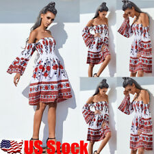 Women's Summer Floral Off Shoulder Beach Evening Party Cocktail Short Mini Dress
