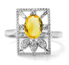 925 Sterling Silver Ring with Natural Yellow Citrine Gemstone Size 5,6,7,8,9,10