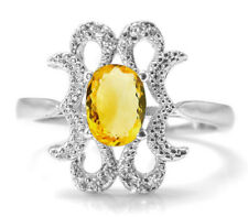 925 Sterling Silver Ring with Oval Cut Yellow Citrine Gemstone Size 5,6,7,8,9,10