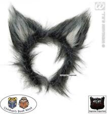 Deluxe Fluffy Grey Big Bad Wolf Ears Animal Adult Fancy Dress Book Week Day New
