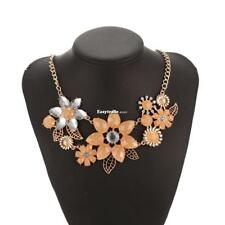 Women Fashion Crystal Rhinestone Flower Pendent Necklace Link Chain ESY1
