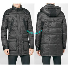 CALVIN KLEIN PREMIUM BODY SLIM FIT FAUX LEATHER TRIM HOODED JACKET SIZE MEDIUM