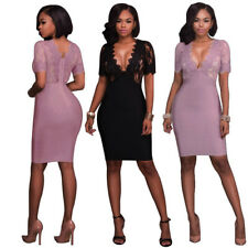 Summer Women Sexy V-neck Lace Dress Bodycon Office Lady Casual Club Short Dress