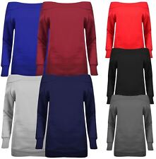 New Ladies Off Shoulder Thermal Sweat Shirt Long Sleeve Jumpers 8-14