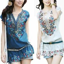 Women New Fashion Casual Summer Folk Style Embroidery Pattern Party Dress
