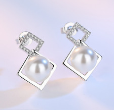1Pair Simple Fashion 925 Silver Plated Pearl Diamonds Earrings Gift ET665