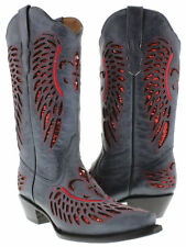 Women's Denim Blue Red Flower Sequins Leather Cowgirl Boots Pointed Toe