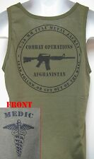 ARMY MEDIC TANK TOP/ OD GREEN/ T-SHIRT/ MILITARY/ AFGHANISTAN COMBAT OPS