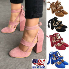 USA Women's Suede Block High Heels Lace Up Ankle Strap Pumps Open Toe Shoes Size