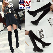USA Womens Over The Knee High Low Heel Block Strechty Thigh High Boot Shoes Size
