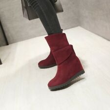 Winter New Womens Faux Suede Pull On Ankle Boots Hidden Wedge Heels
