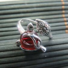 New Design Natural Red Garnet with 925 Sterling Silver Fox Ring Size 4-10