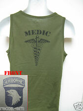 101ST AIRBORNE/ TANK TOP/ OD GREEN/ T-SHIRT/ MILITARY/ ARMY/  MEDIC /  NEW