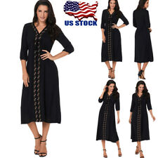 Womens Floral Embroidery V Neck Mid Calf Dress 3/4 Sleeves Long Maxi Dresses USA