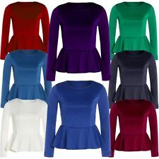 New Womens Crop Waist Peplum Frill Skater Full Sleeve Plus Size Tops 8-26