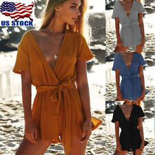 US Womens Deep V Neck Short Sleeve Lace Up Romper Jumpsuit Summer Beach Playsuit