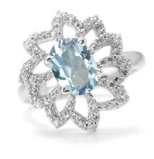 925 Sterling Silver Ring with Blue Topaz Natural Gemstone Oval Cut Handcrafted