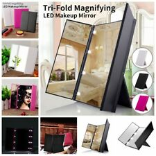 Womens Tri-Fold Magnifying Makeup Mirror 8 LED Lights Portable Pocket Mirrors