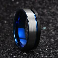Black and Blue 8mm Tungsten Carbide Wedding Ring Brushed Flat Pipe Cut Comfort F
