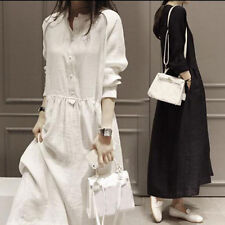 Women Cotton Linen Tunic Long Sleeve Loose Maxi Dress Solid Robe Gown Vintage