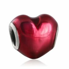 Authentic Sterling Silver In My Heart Fuschia Enamel Charms Fit Charms Bracelet