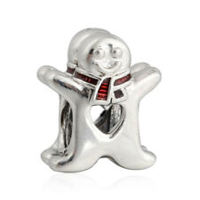 authentic sterling silver Charm Red Enamel Sweet Gingerbread Man Charm Bead