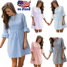 Women Striped Short Dress Crew Neck 3/4 Bell Sleeve Summer Mini Dress Dresses US
