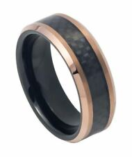 8mm Tungsten Ring Two-tone Black IP Inside Rose Gold IP with Black Carbon Fiber